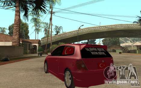 Honda Civic Type R para GTA San Andreas vista posterior izquierda