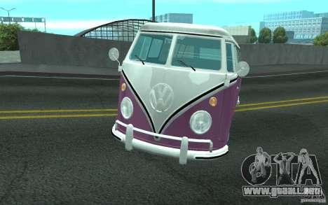 Volkswagen Transporter T1 SAMBAQ CAMPERVAN para vista inferior GTA San Andreas