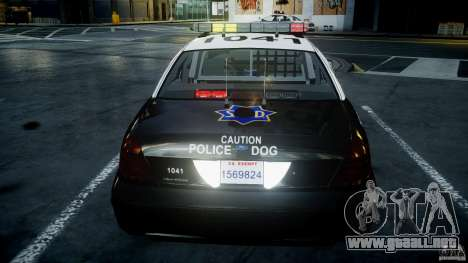 Ford Crown Victoria SFPD K9 Unit [ELS] para GTA 4 interior