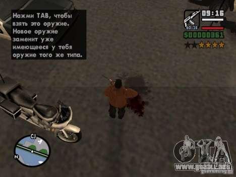 Nuevo patrón de sangre para GTA San Andreas quinta pantalla