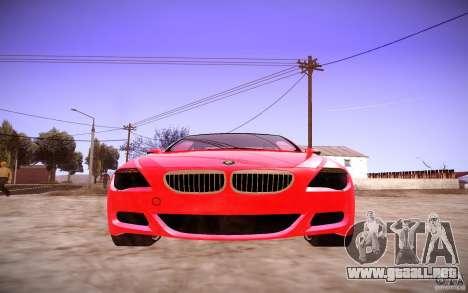 BMW M6 para GTA San Andreas vista hacia atrás