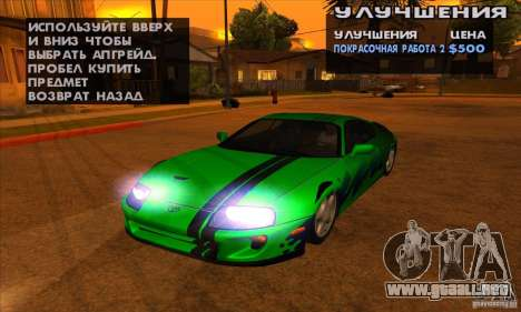 Toyota Supra Drift para visión interna GTA San Andreas