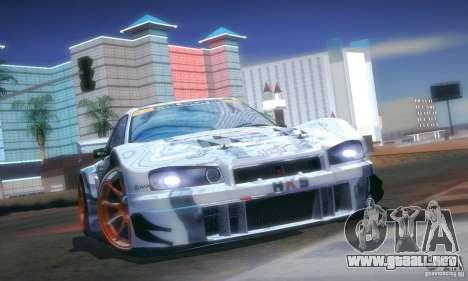 Nissan Skyline Touring R34 Blitz para visión interna GTA San Andreas