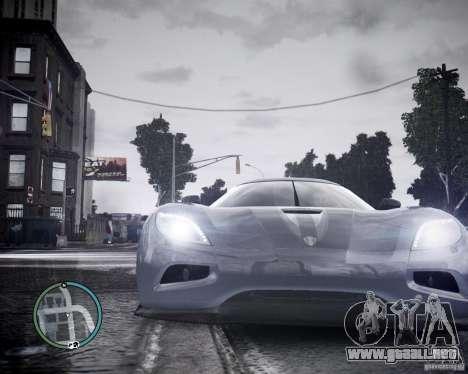 Koenigsegg Agera para GTA 4 vista hacia atrás