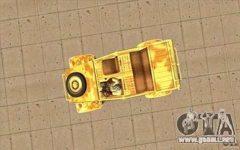 Kuebelwagen v2.0 desert para la visión correcta GTA San Andreas