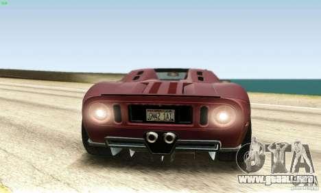 Ford GTX1 Roadster V1.0 para GTA San Andreas vista hacia atrás