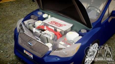 Subaru Impreza Sedan 2012 para GTA 4 visión correcta