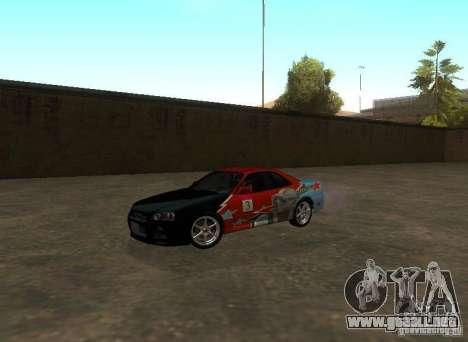 Nissan Skyline GTR-34 para vista inferior GTA San Andreas