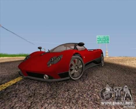 Pagani Zonda F v2 para GTA San Andreas vista hacia atrás