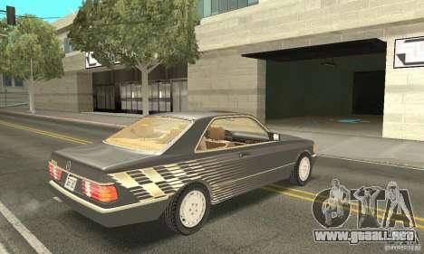 Mercedes-Benz W126 560SEC para vista lateral GTA San Andreas