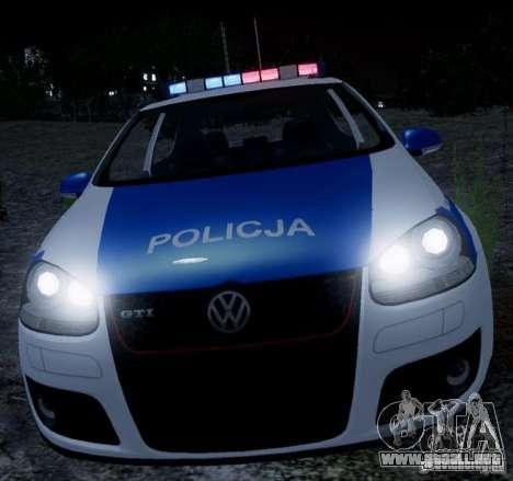 Volkswagen Golf V Polish Police para GTA 4 left