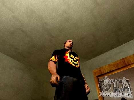 Camiseta negra con una calavera para GTA San Andreas sucesivamente de pantalla