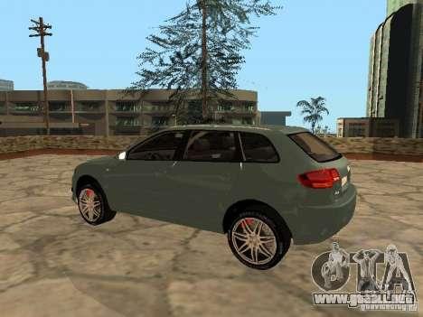 Audi S3 Sportback 2007 para GTA San Andreas vista posterior izquierda