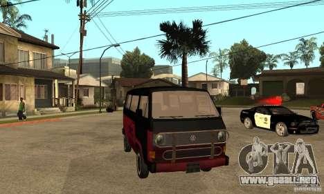 Volkswagen T3 Rusty para GTA San Andreas vista hacia atrás