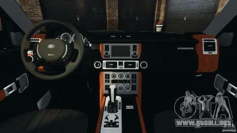 Range Rover Supercharged 2008 para GTA 4 vista hacia atrás