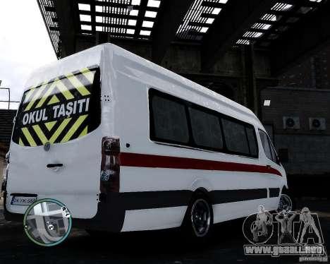 Volkswagen Crafter Turkish Schoolbus para GTA 4 Vista posterior izquierda