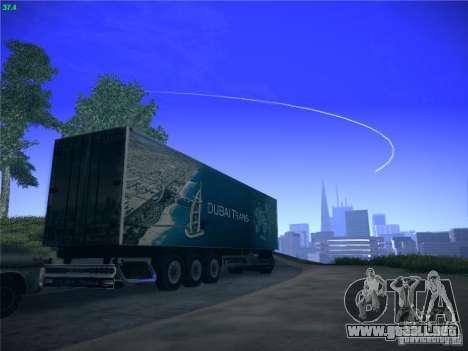 Remolque para el transporte del Scania R620 Duba para GTA San Andreas vista hacia atrás