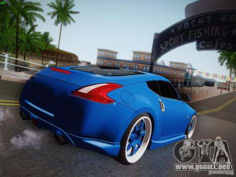 Nissan 370Z Fatlace para GTA San Andreas vista hacia atrás