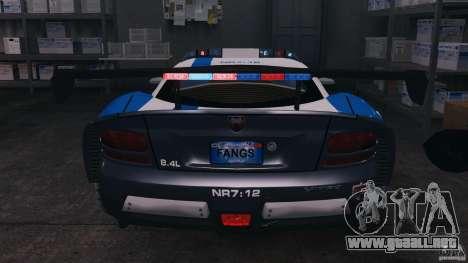 Dodge Viper SRT-10 ACR ELITE POLICE [ELS] para GTA 4 vista desde abajo
