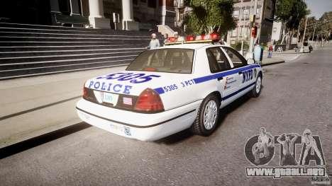 Ford Crown Victoria Police Department 2008 NYPD para GTA 4 Vista posterior izquierda