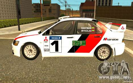 Mitsubishi Lancer Evo IX en el vinilo nuevo para GTA San Andreas left