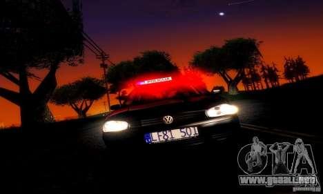Volkswagen Golf Police para GTA San Andreas vista posterior izquierda