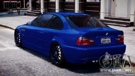 BMW M3 E46 Tuning 2001 para GTA 4 Vista posterior izquierda