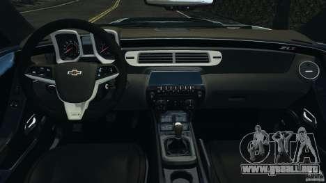 Chevrolet Camaro ZL1 2012 v1.2 para GTA 4 vista hacia atrás