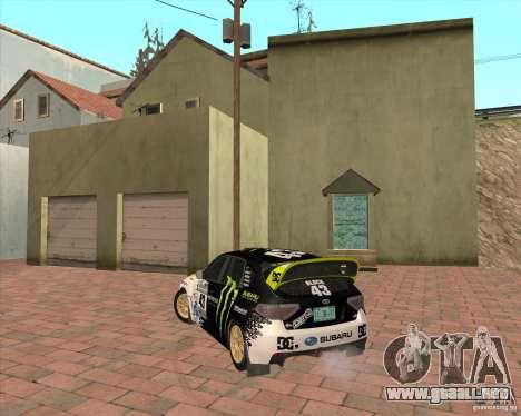 Subaru Impreza Ken Block para GTA San Andreas vista posterior izquierda