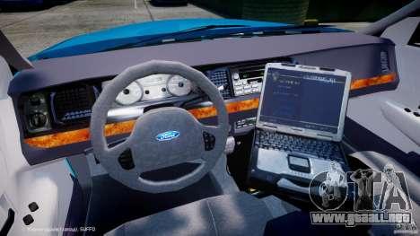 Ford Crown Victoria Classic Blue NYPD Scheme para GTA 4 vista hacia atrás
