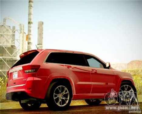 Jeep Grand Cherokee SRT-8 2012 para GTA San Andreas vista hacia atrás