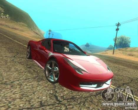 Ferrari 458 Italia Convertible para la vista superior GTA San Andreas