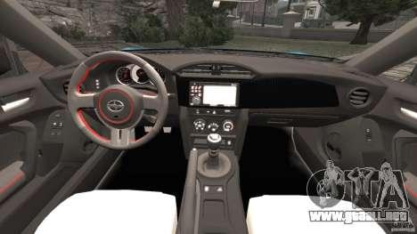 Scion FR-S para GTA 4 vista hacia atrás