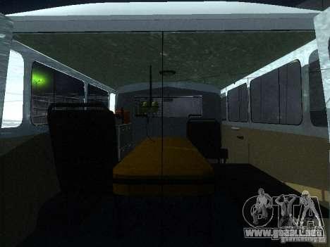 3962 UAZ ambulancia para visión interna GTA San Andreas