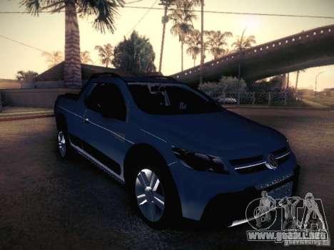 Volkswagen Saveiro Cross para GTA San Andreas vista hacia atrás