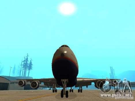 Boeing 747-100 United Airlines para visión interna GTA San Andreas