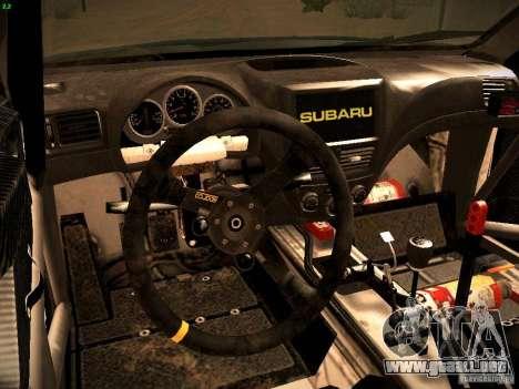 Subaru impreza Tarmac Rally para GTA San Andreas vista hacia atrás