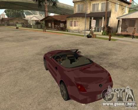 Lexus SC430 para GTA San Andreas vista posterior izquierda