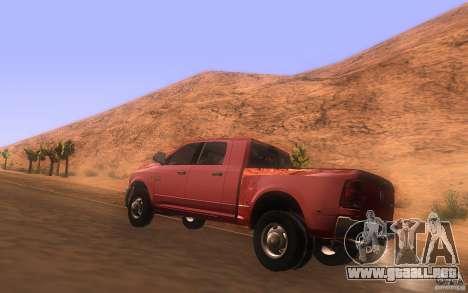 Dodge Ram 3500 Laramie 2010 para GTA San Andreas vista posterior izquierda