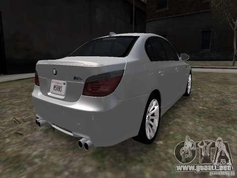 BMW M5 para GTA 4 Vista posterior izquierda