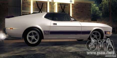Ford Mustang Mach1 1973 para GTA San Andreas vista posterior izquierda