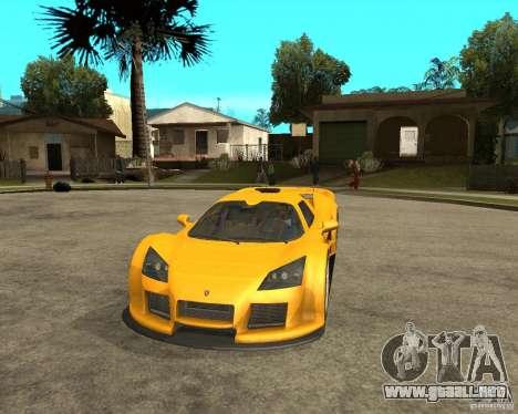Gumpert Appolo para GTA San Andreas vista hacia atrás