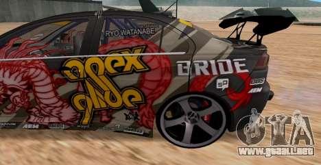 Mitsubishi Lancer Evolution RYO Vatanabe para GTA San Andreas vista hacia atrás