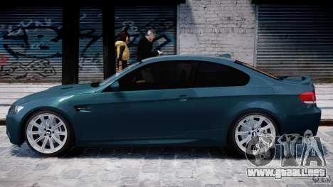 BMW M3 E92 stock para GTA 4 Vista posterior izquierda