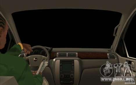 GMC Yukon 2008 para visión interna GTA San Andreas
