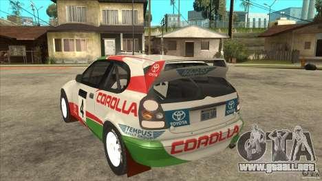 Toyota Corolla 1999 Rally Champion para GTA San Andreas vista hacia atrás