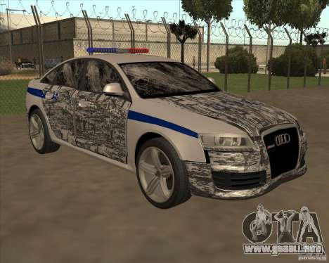 Audi RS6 2010 DPS para vista inferior GTA San Andreas