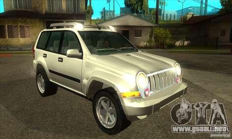 Jeep Liberty 2007 para GTA San Andreas vista hacia atrás