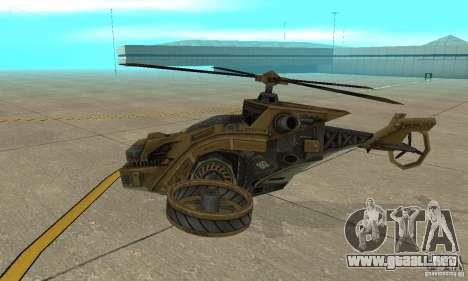 Un helicóptero desde el juego TimeShift Brown para GTA San Andreas vista posterior izquierda