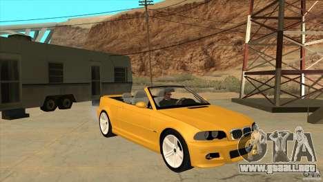 BMW E46 M3 Cabrio para GTA San Andreas vista hacia atrás